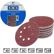 60 Pieza Discos de pulir velcro ø 125 mm Grano cada 10 x 40/60/80/120/180/240 para Lijadora orbital 8-agujeros