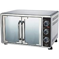 Horno Horno Eléctrico Ventilado doble puerta) Capacidad 58 L Acero Inoxidable Silver Termostato Ajustable Temperatura
