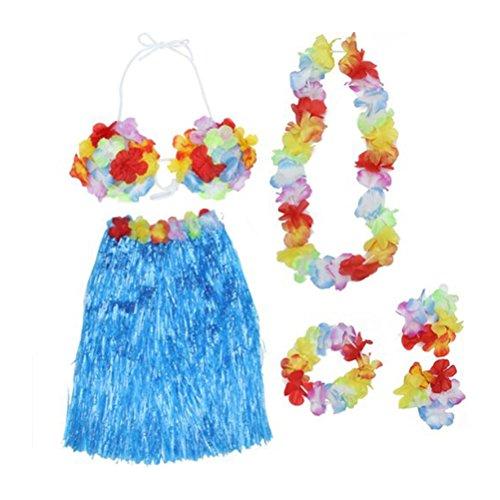 LUOEM Hawaiian Hula Grass Rock Tropical Dance Rock mit BH Blumen Armbänder Stirnband Halskette Set (blau)