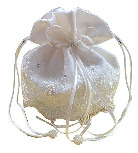 LadyMYP© Brauthandtasche, Brautbeutel mit Strasssteinen und Perlen auf Spitze, Hochzeit, Kommunion (Ivory(Elfanbern))