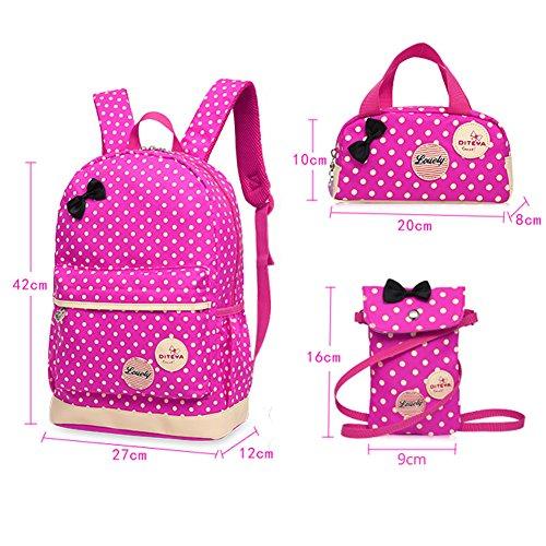 Imagen de bcony conjunto de 3 dot lindo las  escolares universidad/bolsas escolares/ niños niñas adolescentes + mini bolso + bolso crossbody,rosa roja alternativa