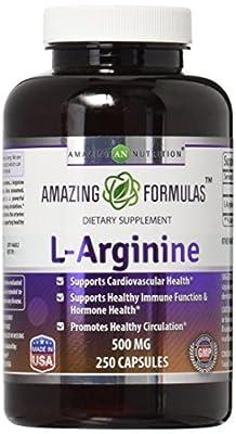 L-Arginine 500 mg Supplement for Women & Man 250 Capsules