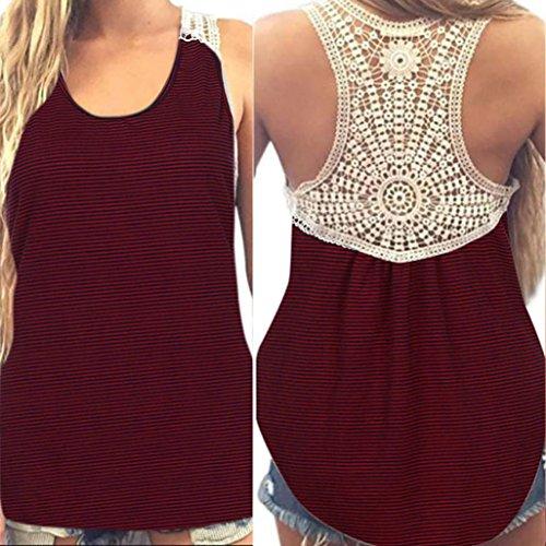 SANFASHION Women Summer Mosaic Fine Stripe Top Short Sleeve Casual T-Shirt, Womens, AB-122, wine red, XXXL