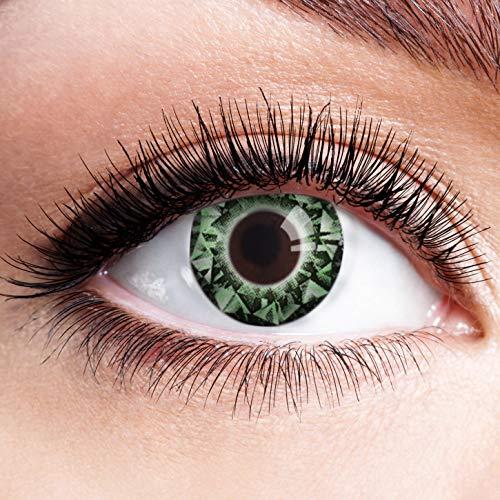 Hexe Kostüm Diamant - Farbige Kontaktlinsen Grün Motivlinsen Ohne Stärke mit Motiv Grüne Linsen Halloween Karneval Fasching Cosplay Kostüm Diamant Augen Green Eyes