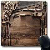 Mau Mat,Gouge Carpenter Vintage Holzbearbeitungswerkzeuge Zimmerei Work Workbench Workshop Alter Board Carver Rutschfeste Gaming Mouse Pad Gummimatte, 30 * 25 Cm