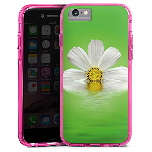 Apple iPhone 8 Bumper Hülle Bumper Case Glitzer Hülle Daisy Flower Blume Bumper Case transparent pink