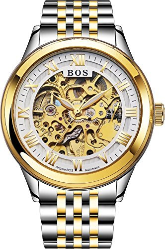 BOS Automatic Watch Self-winding Skeleton Mechanical Gold Case Stainless Steel Band