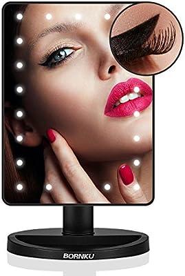 Bornku Espejos Con Luz Para Maquillaje B91 Espejo Baño Espejo Maquillaje Espejos Decorativos con Aumento 10x + 21 LEDs + 180° de Rotación Para La Mesa, Baño, Viajes, Afeitado
