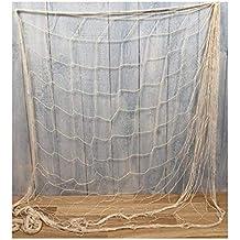 Fischnetz Blau Natur Fischernetz dekoratives Baumwoll Netz 200 x 400 cm