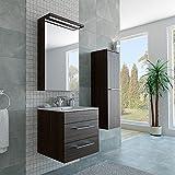 3 Teiliges modernes Badezimmer Möbel Set mit 60er Waschbecken Spiegelschrank und Hochschrank in Thermo Eiche / Dunkelbraun / Braun / LED Beleuchtung / Softclose System und Steckdose / fertig montiert