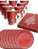 HomeTools.eu - Weihnachts Geschirr Set | 8 Personen, Papp-Becher mit Henkel, Papp-Teller, Servietten Weihnachten | Rot, Weiss 36-Teilig