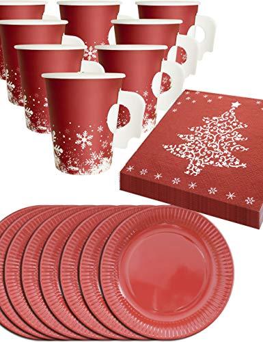 achts Geschirr Set | 8 Personen, Papp-Becher mit Henkel, Papp-Teller, Servietten Weihnachten | Rot, Weiss 36-Teilig ()