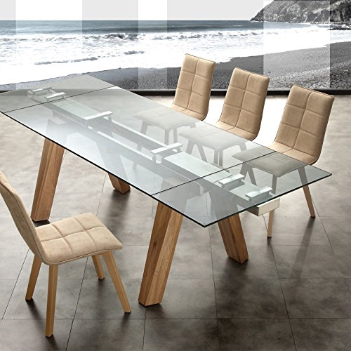 Tavolo allungabile in cristallo e legno design soggiorno for Tavolo cucina design