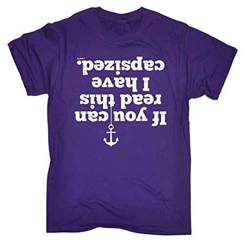 IF YOU CAN READ THIS I HAVE CAPSIZED (L - PURPLE) NEW PREMIUM LOOSE FIT T-SHIRT - slogan funny clothing joke novelty vintage retro t shirt top men's ladies women's girl boy men women tshirt tees tee t-shirts shirts fashion urban cool geek watersports sailing canoe canoeing sail life jacket kayak kayaking boat boating yaughting sports day for him her brother sister mum dad mummy daddy father mother birthday ideas gifts christmas present gift S M L XL 2XL 3XL 4XL 5XL - by Fonfella