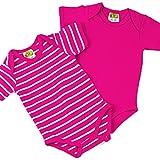 Baby Kurzarm Bodys, 2-teiliges Unterwäsche Set - erdbeerpink uni + weiße Ringelstreifen - Sommer Body Zweierpack für Mächen od. Jungen, 100% Öko-Tex Baumwolle von DIMO