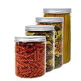 Pack 4 barattolo di plastica alimentare, 0,95 L (12x10cm) - 1,1 L (15x10cm) - 1,3 L (18x10cm) e 1.5 L (20x10cm), contenitori con coperchi in alluminio a vite.