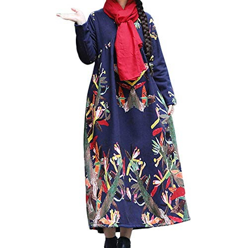 Elecenty Damen Retro Midikleid Frauen Abendkleid Leinenkleid Langarmkleid Cocktailkleid Herbstkleid Rollkragen Freizeitkleidung