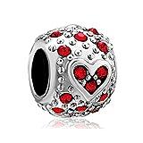 Isajewelry - Charm con cuore e perline rosse, in argento Sterling 925, adatto per bracciali Pandora