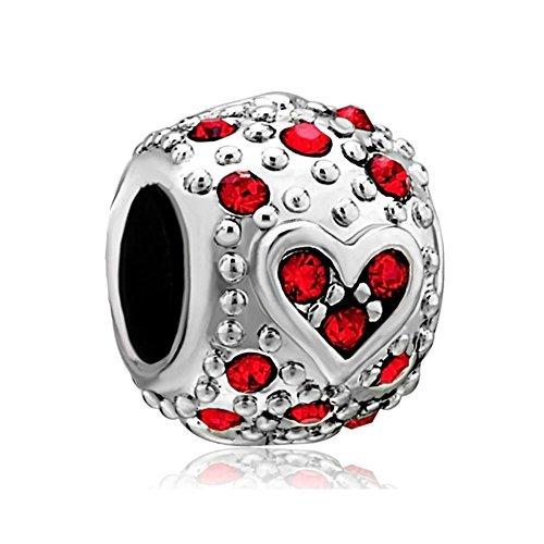 Charm con cuore e perline rosse, in argento sterling 925, adatto per bracciali pandora