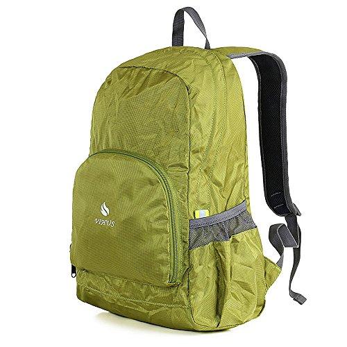 Ranbow resistente all'acqua zaino pieghevole leggero escursionismo Daypack Shoulder Bag 25L, Blu verde