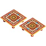 Balaji Arts Handmade Marble Floral Painting Set Of 2 Pooja Chowki For Home Décor
