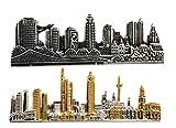 Unbekannt 2 Frankfurt Krawattennadel Krawattenklammer Skyline d. Stadt Frankfurt a. Main Bicolor antiksilbern + Boxen