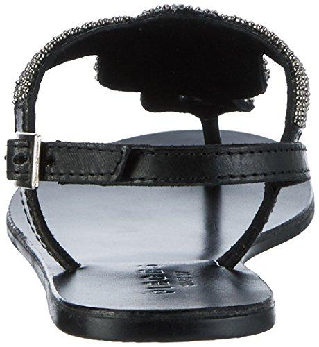 PIECES Damen Pscarmen Leather Sandal New Blk Knöchelriemchen Schwarz (Black)