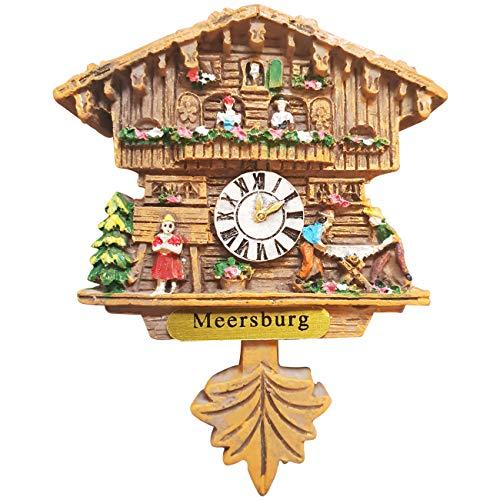 Ciffre Kuckucksuhr Magnet Polyresin Kühlschrank Handmade Braun - Meersburg