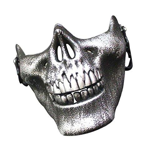 otorrad Skelett Halbe Gesichtsmaske Maske für Karneval Fasching Kostüm Halloween - Weinlese-Silber (Halloween-motorrad-kostüm)