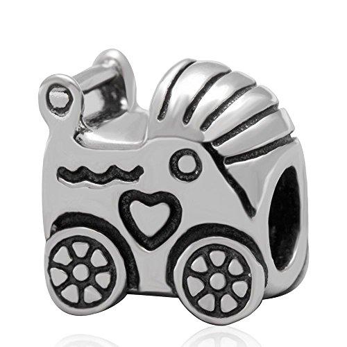 Pandora Charme Auto (Baby Kutsche Charm 925Sterling Silber Baby Car Bead Fit Europäische Charm-Armband oder Halskette)