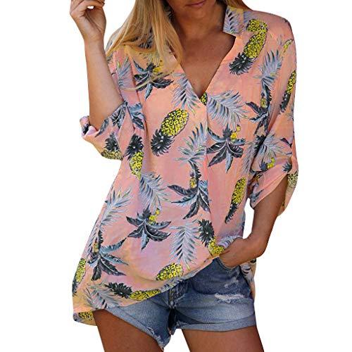 Supertong Damen Böhmen Blumendruck Strand Tunika Sommer Mode V-Ausschnitt Langarm Hawaii Bluse T-Shirt Tops Damen Hemd Leinen Langarmshirt Mode Revers Casual Sommer Shirt Oberteile Hemd -