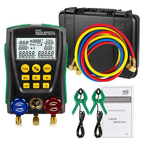 Kältetechnik HVAC Digital Manifold System-Messgeräteset, hochpräzise Unterdruck-Temperatur-Leckprüfgeräte Dignostik-Messgerät-Kit zur Prüfung der Wartung von Klimaanlagen, Kühlschrank