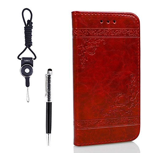 """Coque iPhone 7 Plus, Coque iPhone 8 Plus, SsHhUu Etui Portefeuille en Cuir PU Premium avec Fermeture Magnétique et Stand et Porte cartes avec Stylet + Lanyard pour Apple iPhone 7 Plus 5.5"""" Gris Rouge"""