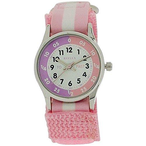 Reflex Time Teacher Pink amp; White Velcro Strap Girls Childrens Watch REFK0005