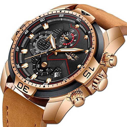 Lige orologio da polso da uomo militare sportivo impermeabile quarzo analogico con cronografo orologio da maschi in pelle marrone orologio