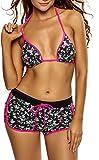 Unbekannt Damen Bikini Bademode Blumen Neckholder Push-Up Boardshorts Panty Shorts Cutouts Top High Waist Pink-S 34/36