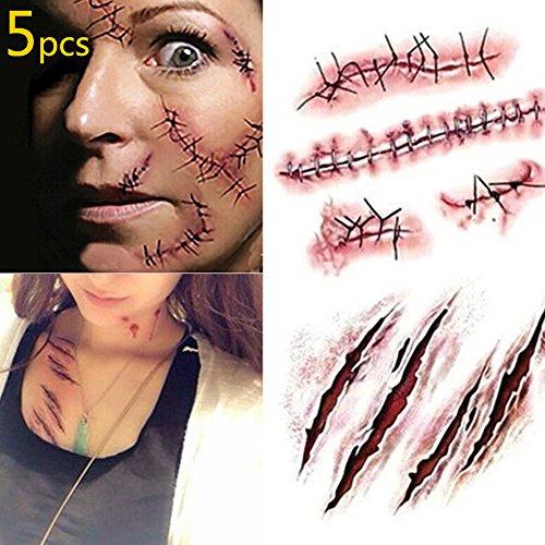 liqy 5/100Horror Realistische Wasserdicht temporäre Tattoo Aufkleber Fake Bloody Wunde Stitch Narbe Scab Halloween Masquerade 4Make-up Requisiten (100) 5 Stück