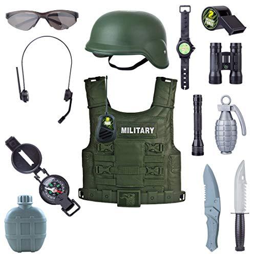 PHYNEDI Kinder Militär Rollenspiel Set, Kostüm Armee 14tlg Battle Ausrüstung Inkl. Weste, Walkie-Talkie Karnevalskostüm für Kinder Junge (Soldat Kostüm Set)