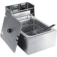 Freidora Eléctrica, 6 Litros de Capacidad Tapa Antisalpicaduras 0-200°C Temperatura Ajustable