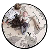 Blanketswarm World Map Game Mat,Thin Canvas Soft Baby Kids Round Rug Playmat Carpet,Diameter 104cm