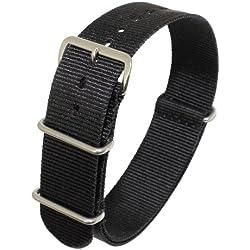 """Uhrbanddealer 18mm Ersatzband Uhrenarmband Durchziehband, """"Nato Style"""" Textil Band mit Edelstahlschlaufen Schwarz 024718s"""