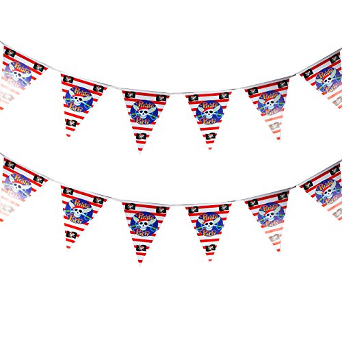 Anladia 300CM Girlande Wimplekette Wimpeln Kinderparty Pirate Party Party Dekoration