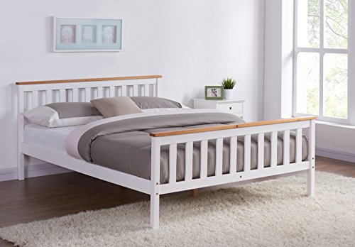 Home Detail Wooden Bed Frame Grey & Pine or White & Oak Contrast Finish (Double 4FT6, White/Oak)