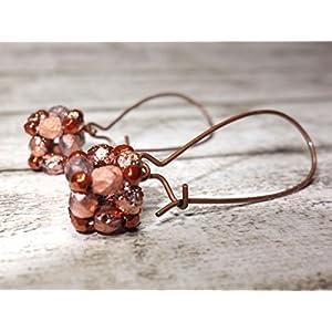 Ohrringe Glasperlenohrringe Ohrringe aus Glasschliffperlen Hängeohrringe Würfel caprigold rosegoldfarben bronzefarben