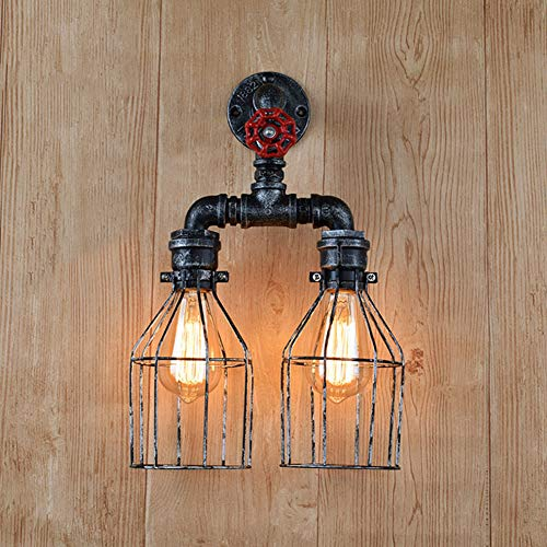 Jinpengran retro lampada da parete, retrò industriale vento doppio testa lampada da parete creativa in ferro battuto pipe luce, caffè, ristorante, camera da letto, ecc (esclusa la fonte di luce)