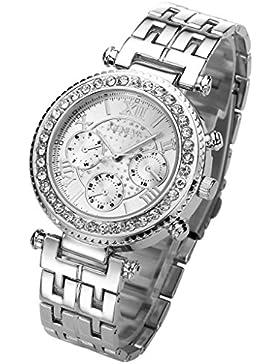 JSDDE Uhren,Klassische Genf Damen Uhren Strass Armbanduhr Traveler unecht Chronograph Damenuhr Blogger Business...