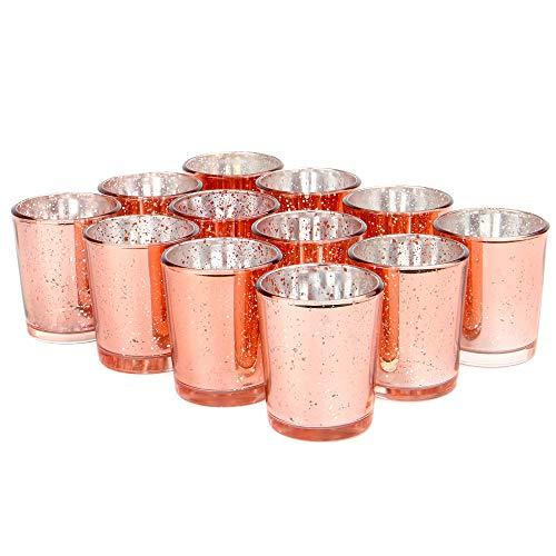 Set mit 12 gesprenkelten Teelichthaltern | Stilvolle Kerzenhalter aus Glas | Tisch & Heimtextilien | Moderne Wohnaccessoires | M&W (Roségold) -