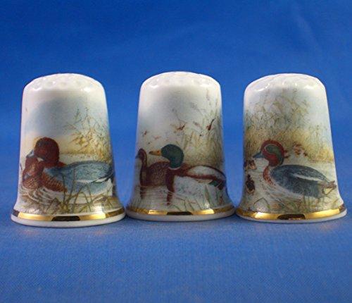 Porcelana China colección de dedales Juego de tres pájaros de agua