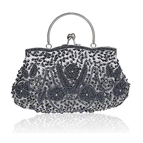 Perlen Abend Handtasche (MMYOMI Vintage Floral Perlen Stickerei Kupplung Pailletten Hochzeit Prom Tasche Braut Damen Crossbody Abend Handtasche (Grau))