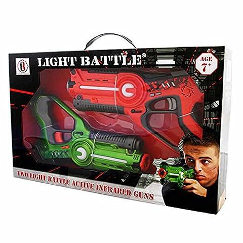 Light Battle Active laser tag toy gun set with 2 laser guns for kids green and orange - display box